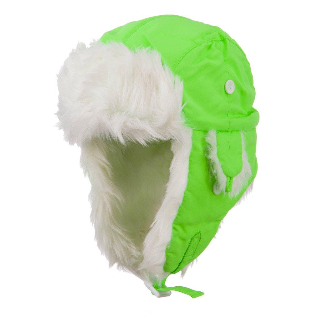 Neon Faux Fur Aviator Trooper Hat - Neon Green L-XL