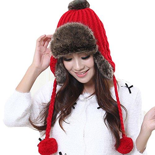 Women's Winter Faux Fur Bomber Trapper Ear Warmer Braided Knit Earmuffs Hat Cap