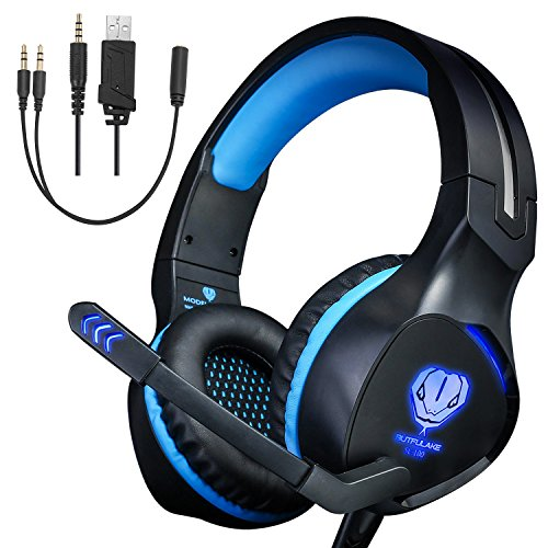 Gaming Headset for Xbox One, PS4 Headphones, Noise Cancelling Over-Ear Wired Headphones with Mic, LED Lights Surround Stereo Headsets for Laptop, Mac (SL-100 Blue)