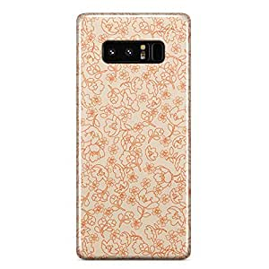 Samsung Note 8 case Cute Floral Pattern Beige And Orange Pattern For Girls And Women Durable slim Profile Metal Inforced Wrap Around Phone Cover