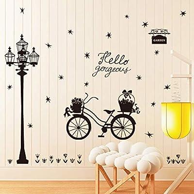 Farola flotante silueta pegatinas de pared diy negro bicicleta ...