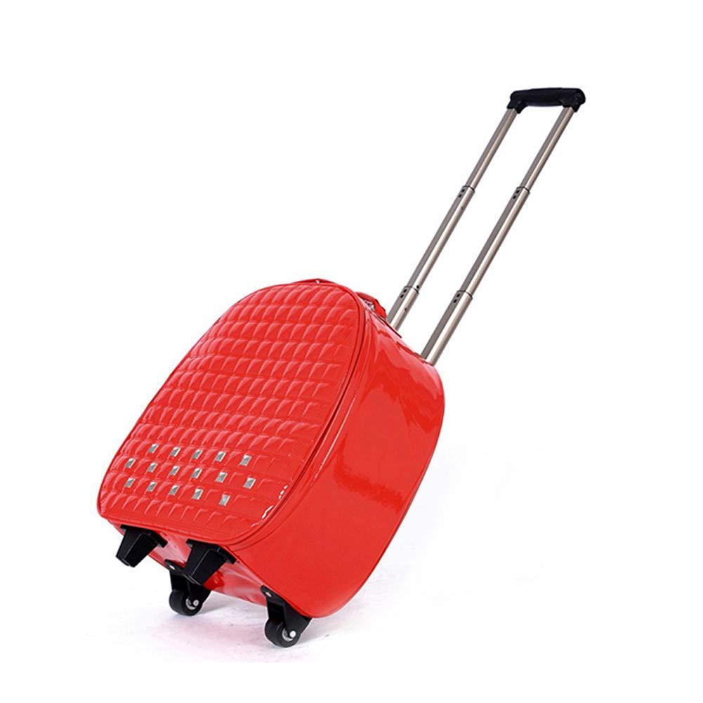 22In女性のトロリーケースレジャースーツケース耐久性のある小型ハードシェル軽量スーツケースパスワードロック付き飛行機に乗ることができるボックス,Red  Red B07KVC9QW4