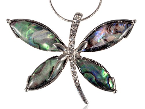 (Alilang Womens Silvery Tone Clear Rhinestones Abalone Colored Stones Dragonfly Pendant Necklace)