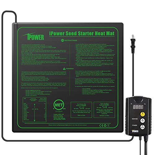"""iPower 20"""" x 20"""" Warm Hydroponic Seedling Heat Mat and Digital Thermostat Control Combo Set for Seed Germination, Black"""