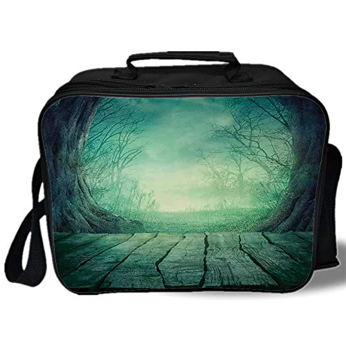Gothic 3D Print Insulated Lunch Bag,Spooky Scary Dark Fog Forest with Dead Trees and Wooden Table Halloween Horror Theme Print,for Work/School/Picnic,Blue -