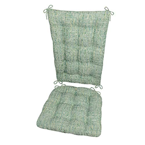 Barnett Products Rocking Chair Cushions - Brisbane Boucle Sea Glass - Latex Foam Fill - Reversible