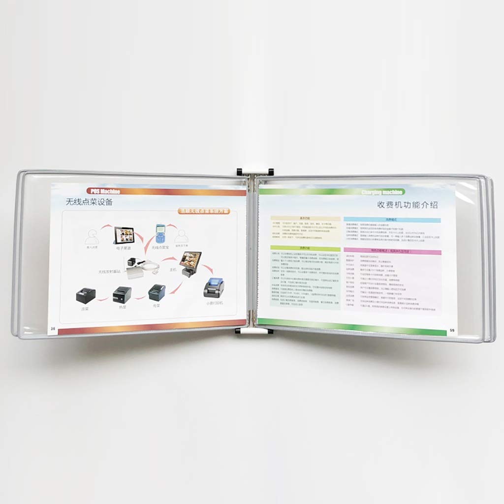 VIP Customer Information A4 File Flipping Clamp Magnetic Wall-Mounted Loose-Leaf Transparent Page Displays 5 Pages (PVC + Metal) 33 23 5.8CM (Color : E)