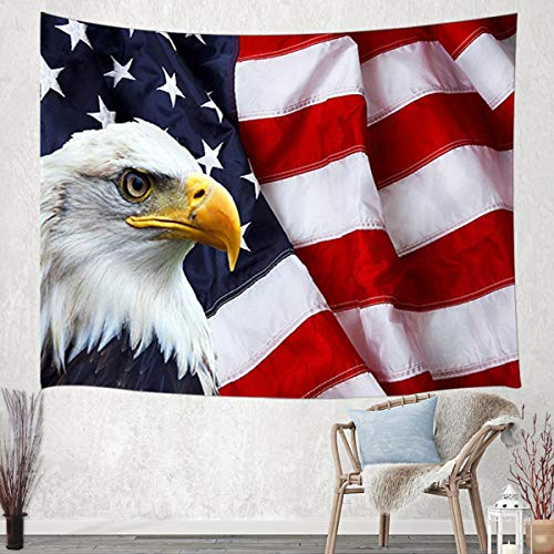 JAWO American Flag Tapestry Wall Hanging, USA Bald Eagle Stars and Stripes Flag Hippie Tapestries for Dorm Living Room Bedroom, Wall Blanket Beach Towels Home Decor 60X40 Inches