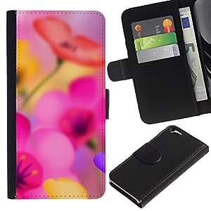 KingStore / Leather Etui en cuir / Apple Iphone 6 / Narcisse Fleur rose