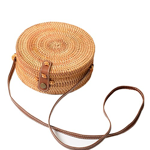 Retro Bag 4 with Crossbody Leather cheerfulus Style Bag Rattan Summer Bohemian Strap Shoulder Chic Woven Round Beach x78zxa