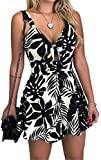NANYUA Womens Cute Summer Cut Out Tie Front Boho Floral Printed Strap Short Playsuit