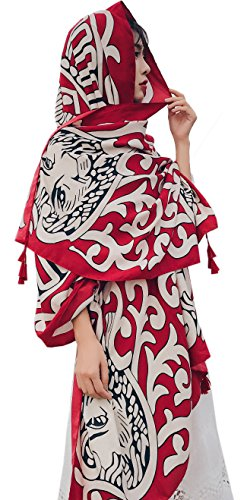 Women's Boho Bohemian Soft Blanket Oversized Fringed Scarf Wraps Shawl Sheer Gift (Red Leopard)