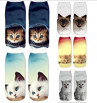 DouTree Mujeres Chicas 3D Crazy Funny Cartoon Gatos Animales Calcetines (paquete de 5 parejas): Amazon.es: Deportes y aire libre