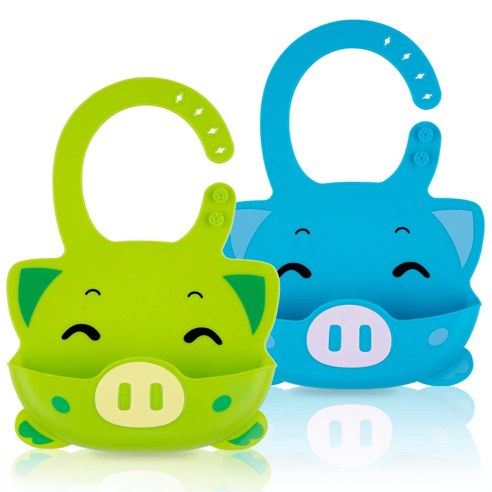 Silicone Baby Bibs Waterproof Adjustable Baby Bib with Food Catcher Pocket Set of 2 Colors Easily Wipe Clean (piggy-Green/Sky blue)