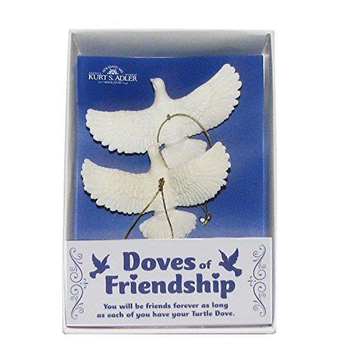 Kurt Adler Turtle Dove Ornaments (Gift Boxed) - Set of 2