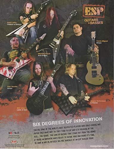 "Magazine Print ad: 2006 ESP Guitars & Basses, with Musicians Alexi Laiho-Dan Jacobs-Will Adler-Michael Amott-Jesper Stromblad-Travis Miguel,""Six Degrees of Innovation"""