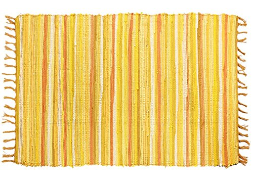 Kitchen Bathroom Bedroom (OJIA Cotton Reversible Rag Rug Hand Woven Multi Color Striped Chindi Area Rug Entryway For Laundry Room Kitchen Bathroom Bedroom Dorm (2' x 3', Yellow))