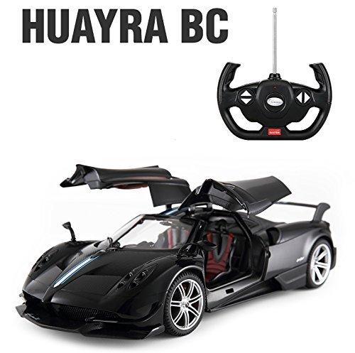Licensed RC Car 1:14 Scale Pagani Huayra BC | Rastar Radio Remote Control 1/14 RTR Super Sport Car Model w/Open Doors (Black) ()