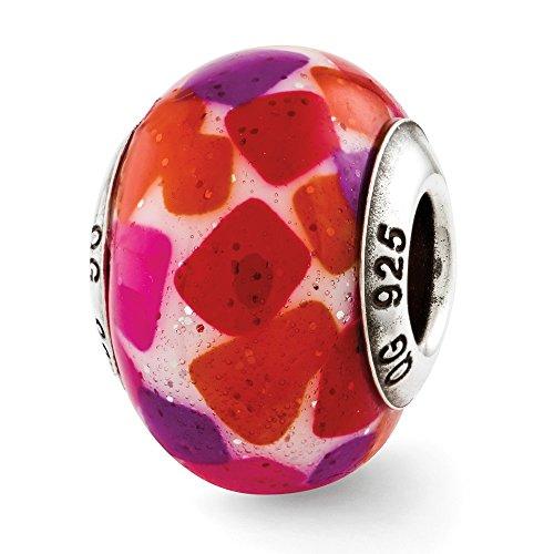 925 Sterling Silver Charm For Bracelet Pink/purple/red Italian Murano Glass Bead Glas Fine Jewelry Gifts For Women For Her - Murano Glass Bead Rosary Bracelet