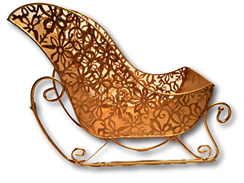 Pier 1 Gold Glitter Snowflake Sleigh Baskets. Set of 2. (12