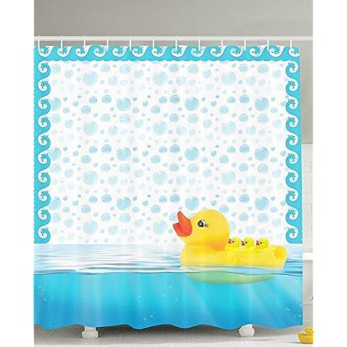 Baby Ducks Swimming Bathing Bath Bubbles Kids Babies Art Prints Nursery Bathroom Design Home Play Fun Shower Curtain Yellow Aqua White