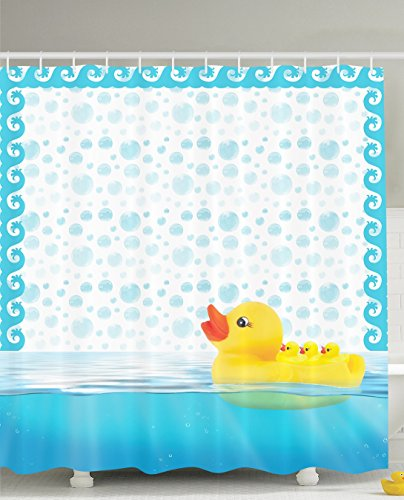 Nursery Decor Cute Little Rubber Ducks Mom Carrying Baby Ducks Swimming Bathing Ducks Bath Bubbles Kids Babies Art Prints Nursery Bathroom Design Kids Home Play Fun Shower Curtain, Yellow Aqua White