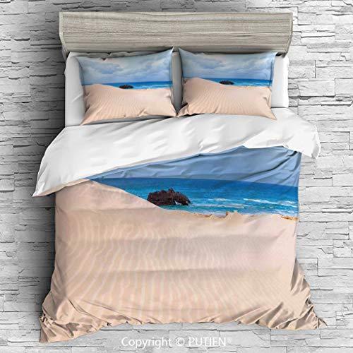 QUEEN Size Cute 3 Piece Duvet Cover Sets Bedding Set Collection [ Ocean Decor,Boat Crash by Exotic Tropical Beach in African Shore Dream Atlantic Ocean Photo,Blue Cream ] Comforter Cover ()