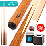 REDLEK Pool Cue Set of 4 | 1 Piece 58' Pool Sticks with Pool Chalk | Hardwood Canadian Dried Maple Billiard Cue 20 Oz with 13mm Tip | House Bar Billiard Accessories