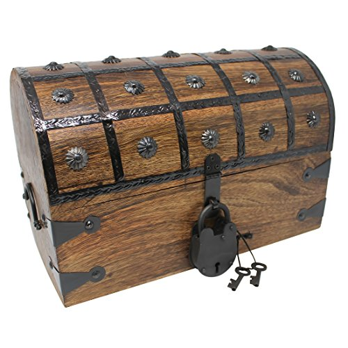 Nautical Cove Pirate Treasure Chest with Iron Lock and Skeleton Key - Storage and Decorative Box (Large 14 x 8 x 9)