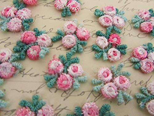 (30 Pink/Green Embroidery Venise Lace Rose Flower Applique/Dress/Trim/Sewing #ID-637)