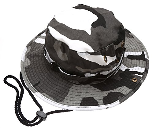 Summer Outdoor Boonie Hunting Fishing Safari Bucket Sun Hat with Adjustable Strap(City Camo,LXL)