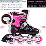 Xino Sports Adjustable Kids Inline Skates for Girls & Boys with Light Up Wheels