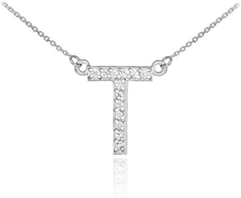 Letter T Necklace Initial T Charm Necklace Uppercase T Jewelry Initial T Necklace Letter T Charm Necklace