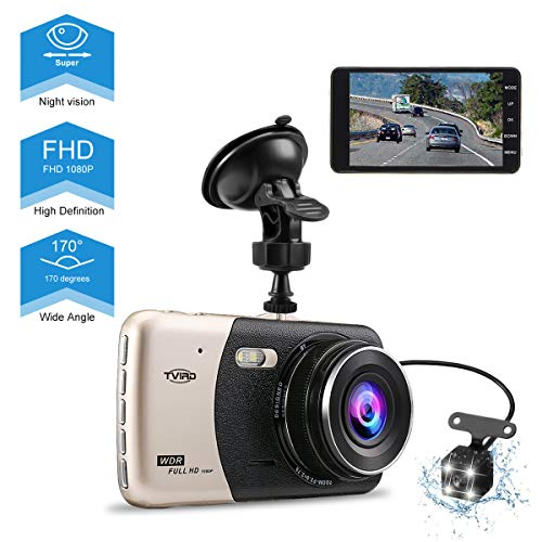 Tvird Dash Cam 1296P Dash Camera,170°Wide Angle Car DVR with 4″ LCD Screen,Front and Rear Dual Channel Dashboard Camera with G-Sensor,Motion Detection,WDR,Loop Recording,Night Vision,Parking Monitor.