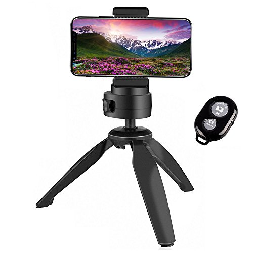 Mini Tabletop Tripod Heavy Duty Tripod 360° Portable Phone Tripod Stand with Bluetooth Remote Phone Clip Holder for iPhone,Camera Webcams