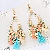 Potelin Women's Colorful Bohemian National Earrings Beads Tassel Earrings Durable and Useful