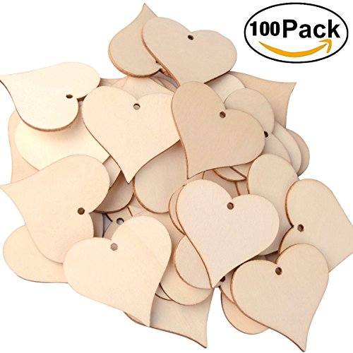 Heart Pieces (Wooden Love Heart Slices, UTOPER Name Tags Blank Wood Art Craft Pieces for Wedding, DIY Projects,Card Making (100pcs, 47mm, Blank))