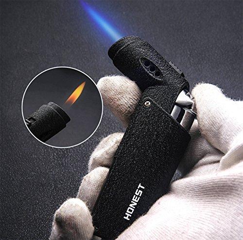 GQ Goldnconn Jet Torch Cigar Lighter, Strong Flame Windproof Butane Fuel Cigarette Lighter (BLACK-S)
