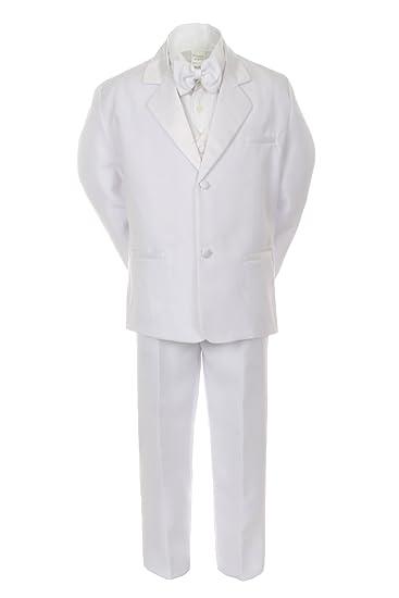 Amazon.com: Formal Boy White Suit Notch Lapel Satin Tuxedo ...