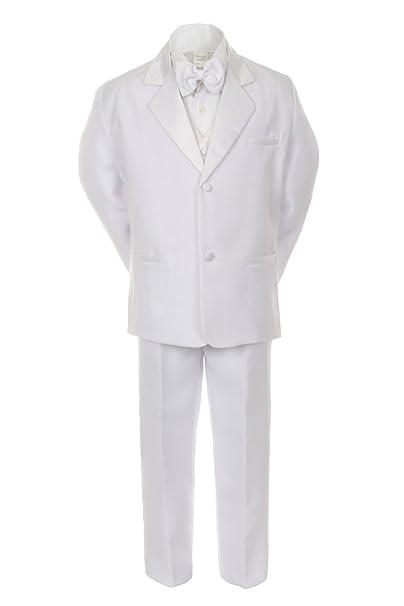 Unotux Boys White Formal Baptism First Communion Vest Set Suits Tuxedo Baby Teen (S:(0-6 Months))