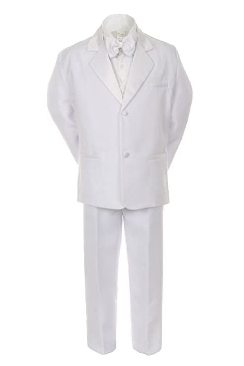Unotux Boys White Formal Baptism First Communion Vest Set Suits Tuxedo Baby Teen (4T)