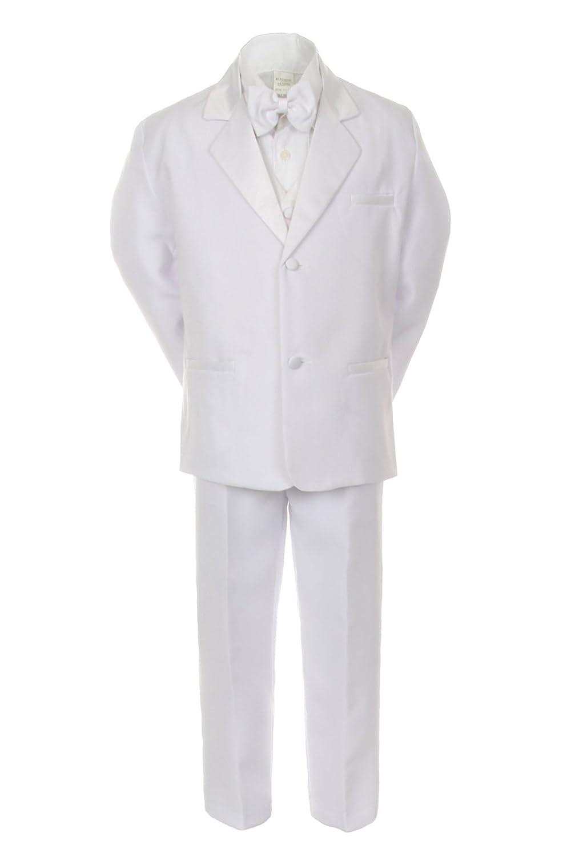 Unotux 7pcs Boy White Suits Tuxedo with Satin Royal Blue Bow Tie Vest Set S-20