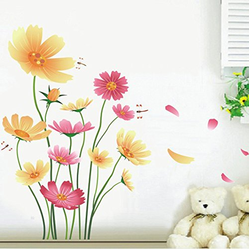 Chrysanthemums Butterflies Dragonflies Garden Wall Decal PVC Home Sticker House Vinyl Paper Decoration WallPaper Living Room Bedroom Kitchen Art Picture DIY Murals Girls Boys kids Nursery Baby