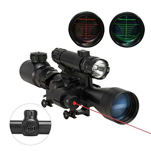 Pinty 3 in 1 Tactical 3-9X40 Red Green Mil-Dot Illumination Reticle Riflescope Scope Combo Sniper with Laser Sight and Torch for Hunting (Co2 High Powered Airsoft Rifle)