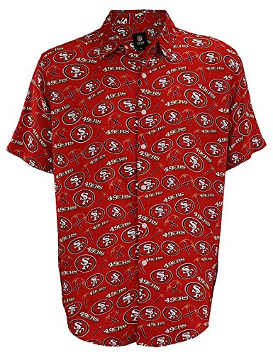 Forever Collectibles San Francisco 49Ers Repeat Logo Button Up Shirt - Mens Large