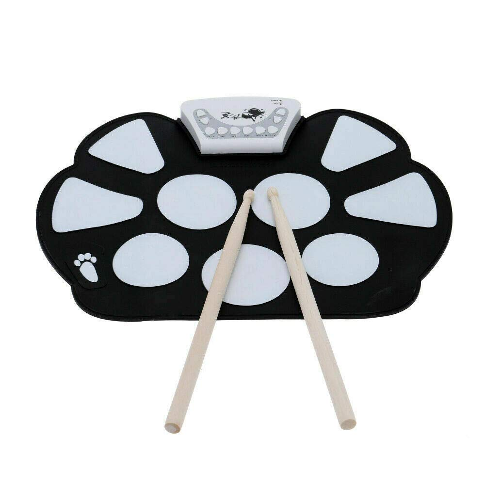 CLKjdz USB Desktop Electronic Roll Up Drum Pad Kit Foot Pedal for Kids Gift J2C3