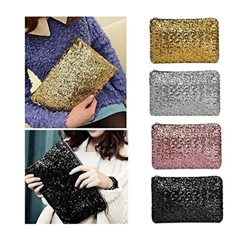 Rose Sequins Handbag Red Cosmetic Zipper Women Dazzling Bag Clutch 7q50I8gw