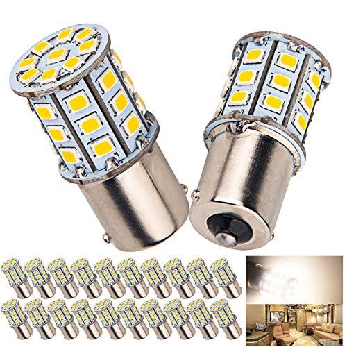 Ba15s Light Bulb 1156 (20 x Super Bright 4.2W BA15S 1156 1141 1003 RV Interior White Light LED Bulbs Camper Trailer Turn Signal Backup Reverse,4000K Neutral White)