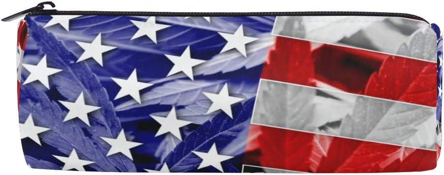 Ahomy - Estuche con cremallera para lápices, diseño de la bandera de Estados Unidos sobre cannabis y marihuana, para adolescentes y niños, bolsa de maquillaje de viaje para mujeres