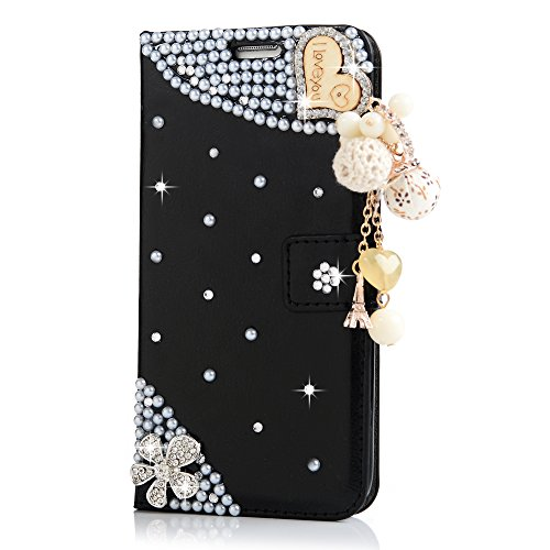 S7 Edge Case (Not for S7 Non-edge),Mavis's Diary 3D Handmade Wallet Flip Cover PU Leather Bling Shiny Diamond Pearls Wooden Love Heart with Cute Balls Tower Pendant for Samsung Galaxy S7 Edge (Black) -